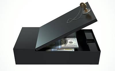 Black Safe Deposit Box Print by Allan Swart