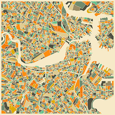 Boston Digital Art - Boston Map by Jazzberry Blue