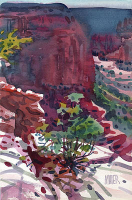 Navajo Painting - Canyon View by Donald Maier