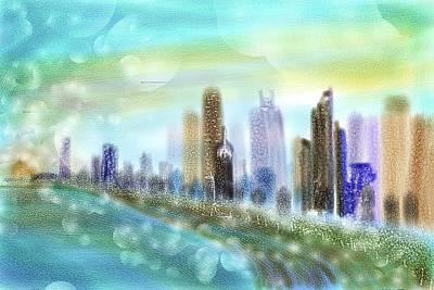 Healing Digital Art - Chicago Skyline by Sandrine Kespi