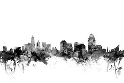 Cincinnati Digital Art - Cincinnati Ohio Skyline by Michael Tompsett