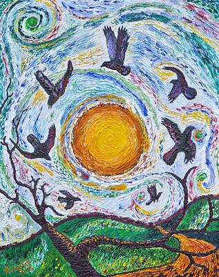 7 Crows At Sunset Print by Arnold Bernstein