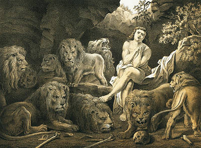 Daniel In The Lion's Den Print by English School