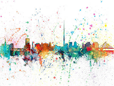 Dublin Digital Art - Dublin Ireland Skyline by Michael Tompsett