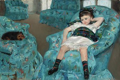 Dog Painting - Little Girl In A Blue Armchair by Mary Cassatt