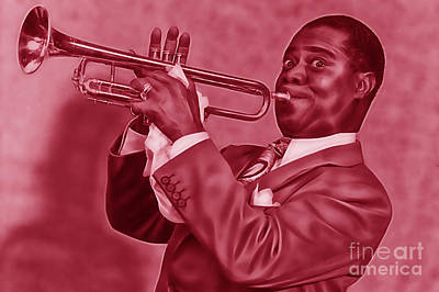 Musicians Mixed Media - Louis Armstrong Collection by Marvin Blaine