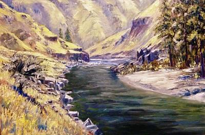 Salmon River Idaho Painting - Lower Salmon River-idaho by Tom Siebert
