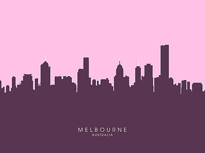Sydney Digital Art - Melbourne Skyline by Michael Tompsett
