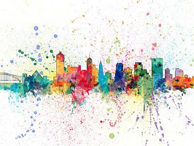 Memphis Digital Art - Memphis Tennessee Skyline by Michael Tompsett
