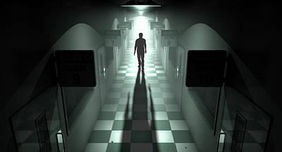 Mental Asylum With Ghostly Figure Print by Allan Swart
