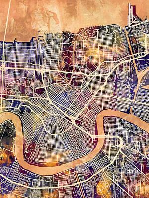 New Orleans Street Map Print by Michael Tompsett