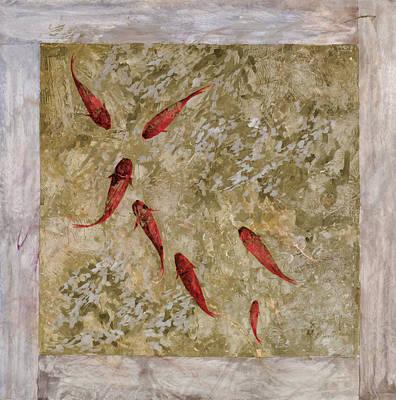 Koi Painting - 7 Pesci Rossi E Oro by Guido Borelli