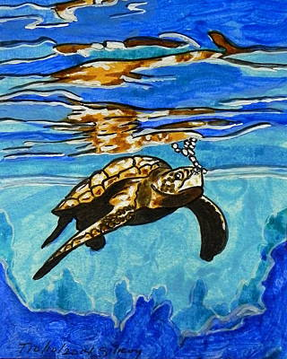Water Theme Painting - Sea Turtle by W Gilroy