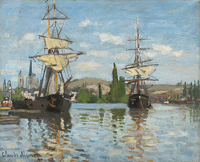 Ship Painting - Ships Riding On The Seine At Rouen by Claude Monet