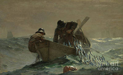 Barrel Painting - The Herring Net by Winslow Homer
