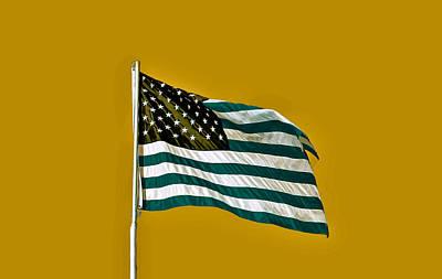 Lower Manhattan Pyrography - The Usa Flag by Artistic Panda