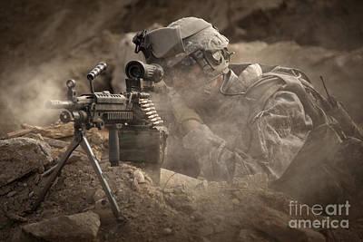 U.s. Army Ranger In Afghanistan Combat Print by Tom Weber