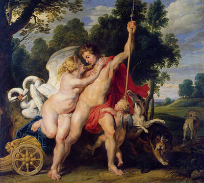 Puppy Painting - Venus And Adonis by Peter Paul Rubens