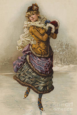 Skating Drawing - Vintage Christmas Card by English School