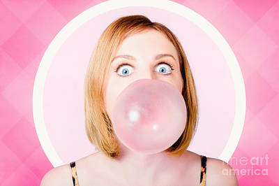 70s Pin-up Girl Blowing Pink Bubble Gum Ball Print by Jorgo Photography - Wall Art Gallery