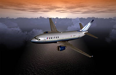 Airliners Digital Art - 737 Ual 06 by Mike Ray