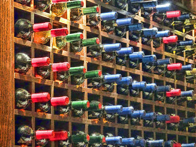 74 Bottles Of Wine On The Wall Print by Elaine Plesser