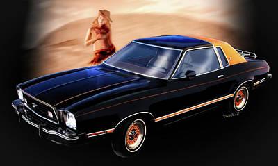 Mustang Digital Art - 77 Mustang Ghia Sport Coupe by Chas Sinklier