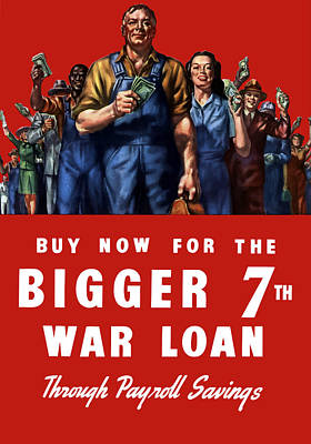 Patriotic Mixed Media - 7th War Loan - Ww2 by War Is Hell Store