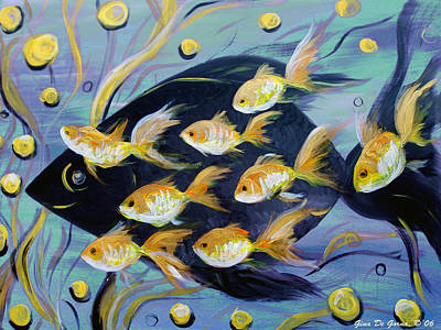 8 Gold Fish Print by Gina De Gorna