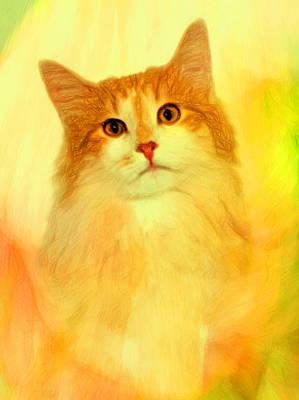 Cats Print by Elena Kosvincheva