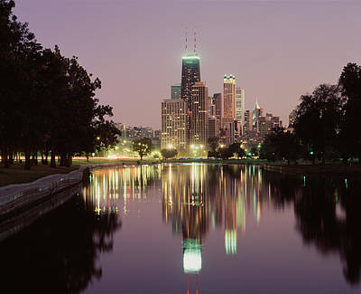 Mirror Glass Photograph - Chicago Il by Panoramic Images