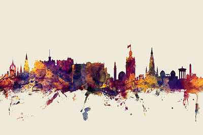Great Digital Art - Edinburgh Scotland Skyline by Michael Tompsett