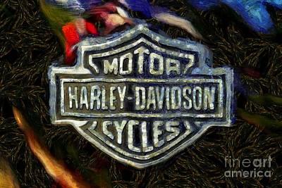Harley-davidson Painting - Harley-davidson Badge by George Atsametakis