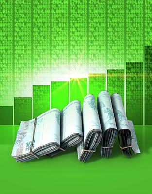 Financial Digital Art - Positive Market Money by Allan Swart