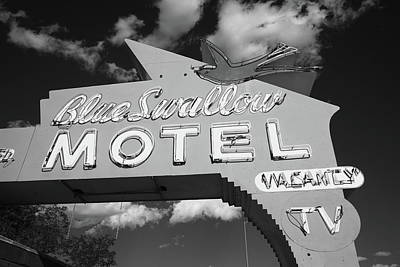 Swallow Photograph - Route 66 - Blue Swallow Motel by Frank Romeo