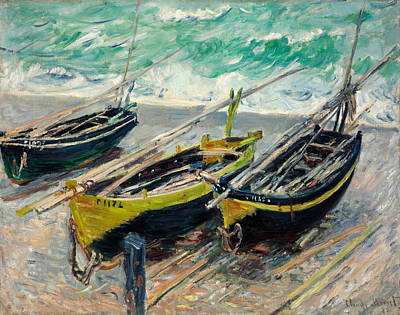 Coastal Painting - Three Fishing Boats by Claude Monet