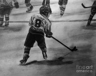 Youth Hockey Drawing - Ryan Trefz #8 by Gary Reising