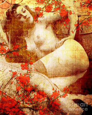 Garter Belts Mixed Media - Winsome Woman by Chris Andruskiewicz