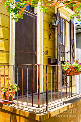 Flower Photograph - 818 Yellow Doorway - Faubourg Marigny - Nola by Kathleen K Parker