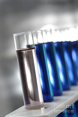 Test Tubes In Science Research Lab Print by Olivier Le Queinec