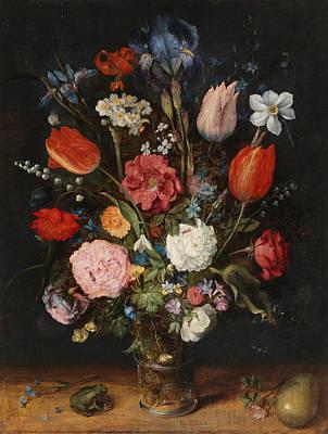 Frog Painting - Flower Vase by Jan Brueghel the Elder