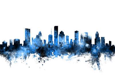 Texas Poster Digital Art - Houston Texas Skyline by Michael Tompsett