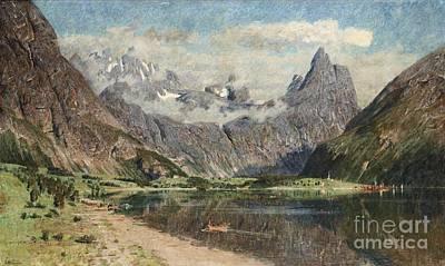 Norwegian Painting - Norwegian Fjord Landscape by Celestial Images