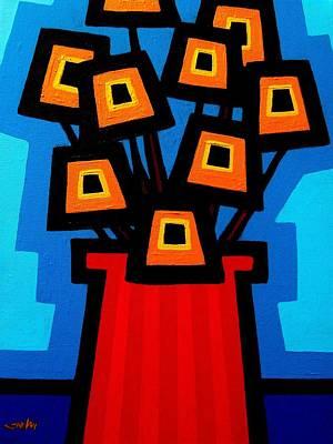 Edition Painting - 9 Orange Poppies by John  Nolan