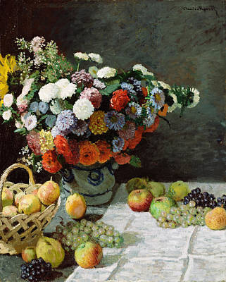 Peaches Painting - Still Life With Flowers And Fruit by Claude Monet