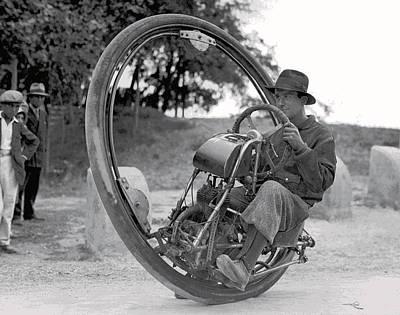Depression Mixed Media - 90 M P H Monocycle - 1933 by Daniel Hagerman