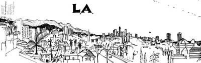 Los Angeles Skyline Drawing - 9.5.big-city-2-detail-a by Charlie Szoradi