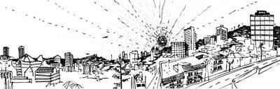 Los Angeles Skyline Drawing - 9.6.big-city-2-detail-b by Charlie Szoradi