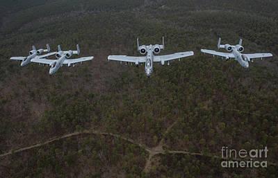 A-10 Thunderbolt IIs Flying Print by Stocktrek Images