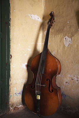 Double Bass Photograph - A An Double Bass In The Corner Of A Room by Monk